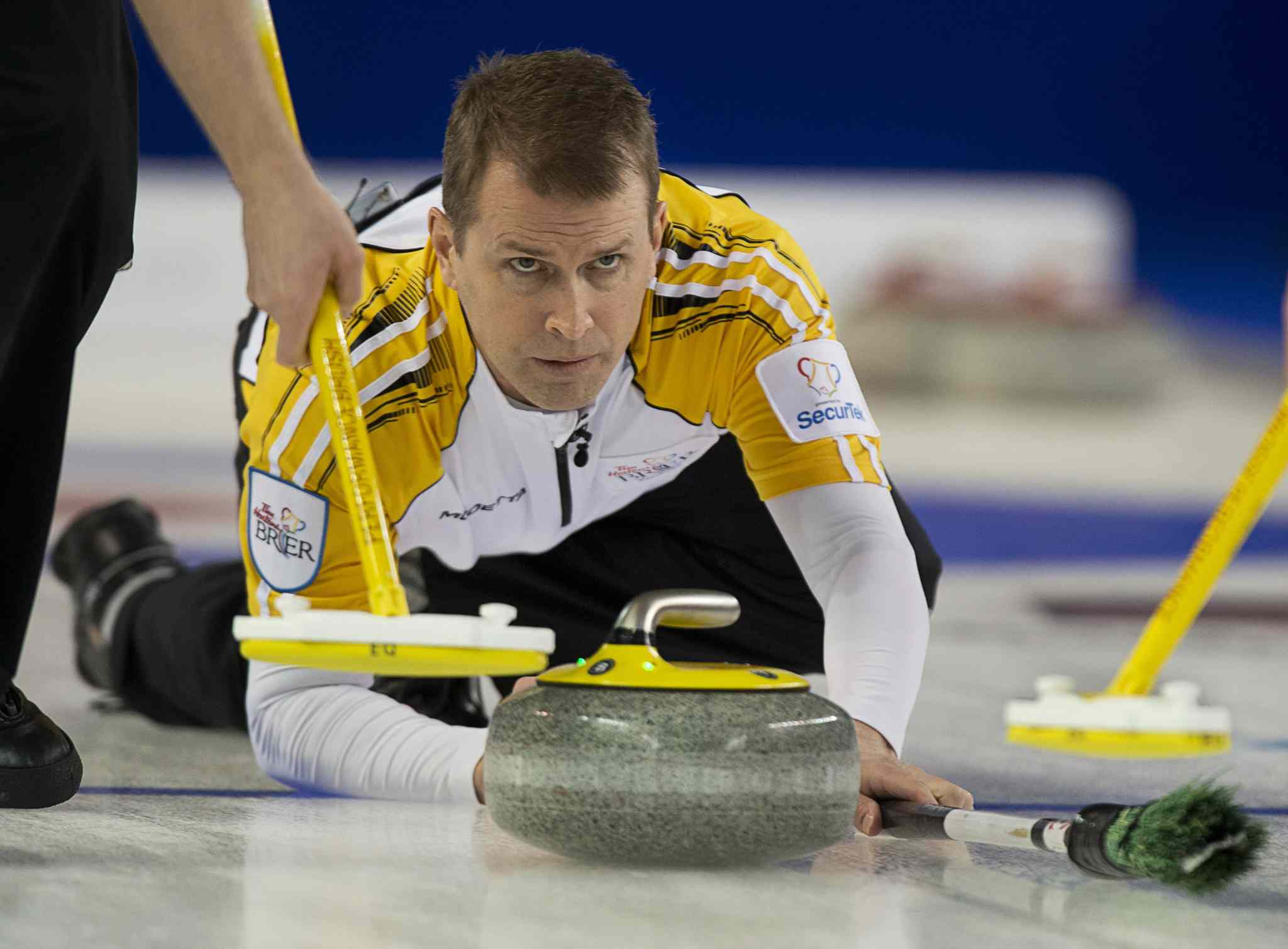 Jeff Stoughton releases a rock against Northwest Territories/Yukon at the Tim Hortons Brier in Kamloops on Sunday.