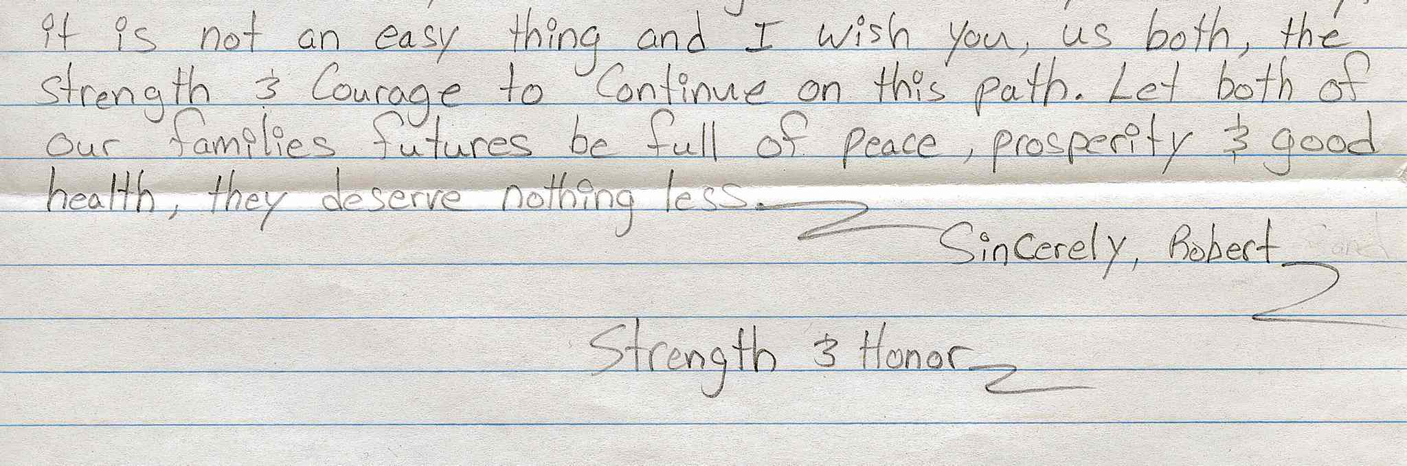 An excerpt from letter written by Robert Sand to Ricky Strongquill, son of Dennis Strongquill
