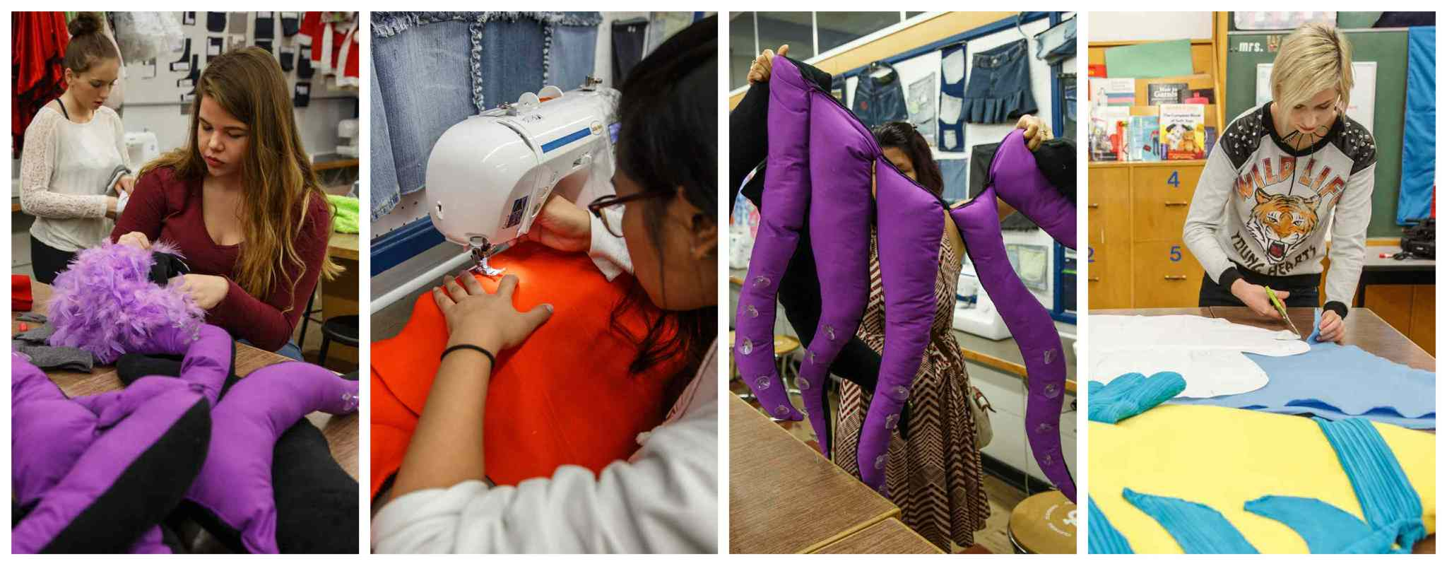 Sewing students work on The Little Mermaid costumes.  (Mike Deal / Winnipeg Free Press)