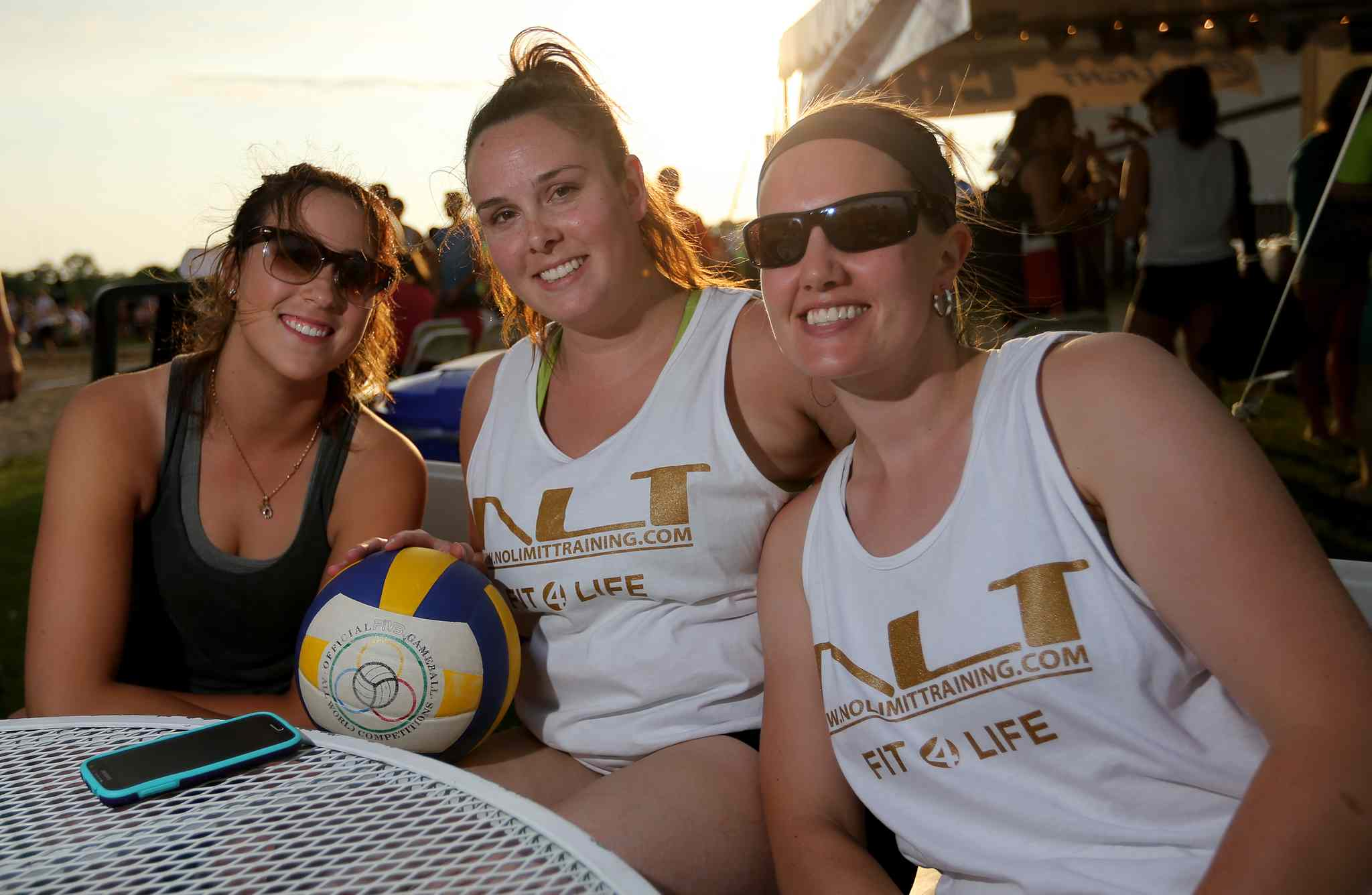 Kathryn Huebner, Kendra Hewitt and Kristen Asmundson of Team No Limit Training at the Super-Spike volleyball tournament at Maple Grove Rugby Park, Friday, July 18, 2014.