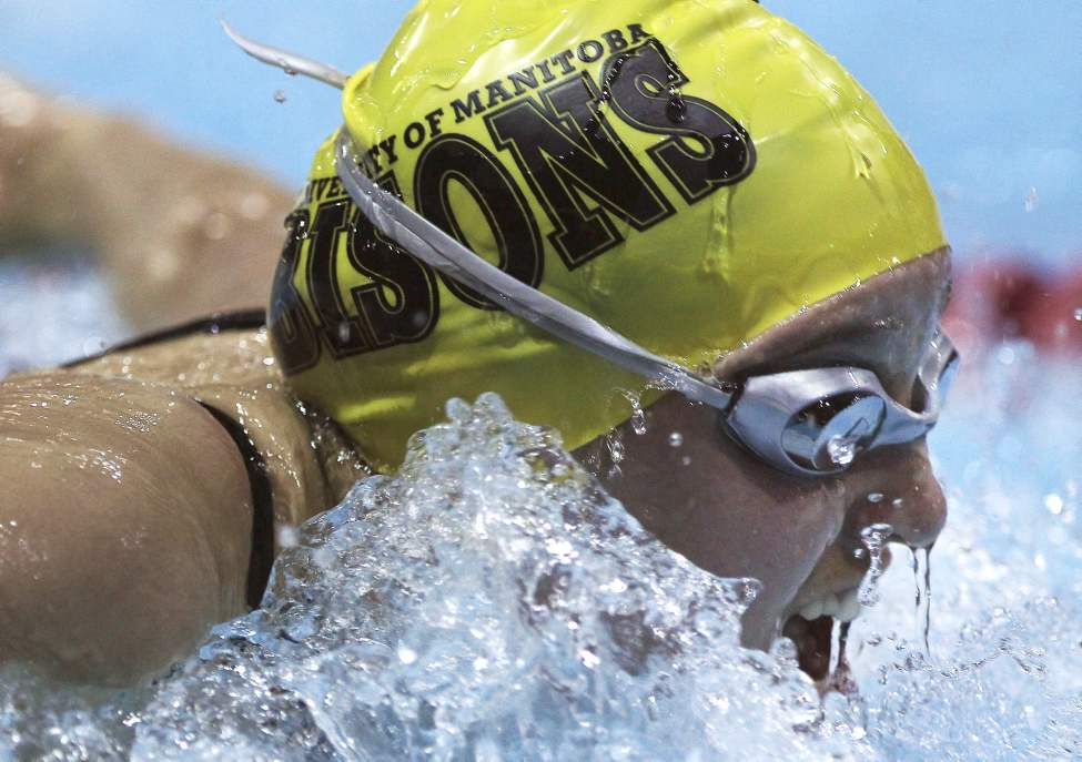 University of Manitoba Bisons' Mackenzie Glover in the 15 year & older B final of the 200 IM and came in 13th place with a time of 2:25.01 Saturday night  at the 2013 Manitoba/Saskatchewan Short Course swimming championships.   (JOE BRYKSA / WINNIPEG FREE PRESS)