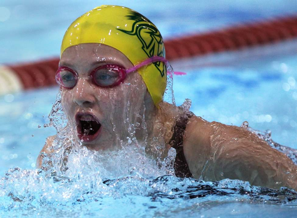 Manitoba Marlins' Hayley Bryksa swims in prelims of the 50 breast stroke  at the 2013 Manitoba/Saskatchewan Short Course swimming championships.   (JOE BRYKSA / WINNIPEG FREE PRESS)