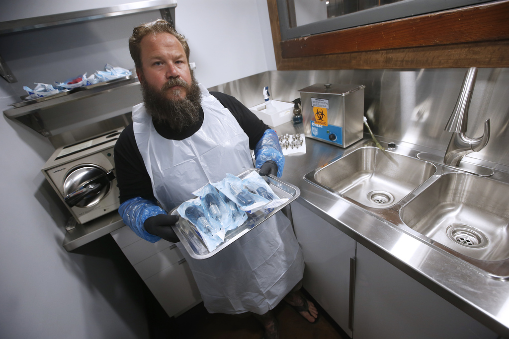 Rich Handford, owner of Kapala Tattoo, in his sterilization room. Tattoo studios are part of Manitoba's COVID-19 phase 2 reopening plans announced Thursday.