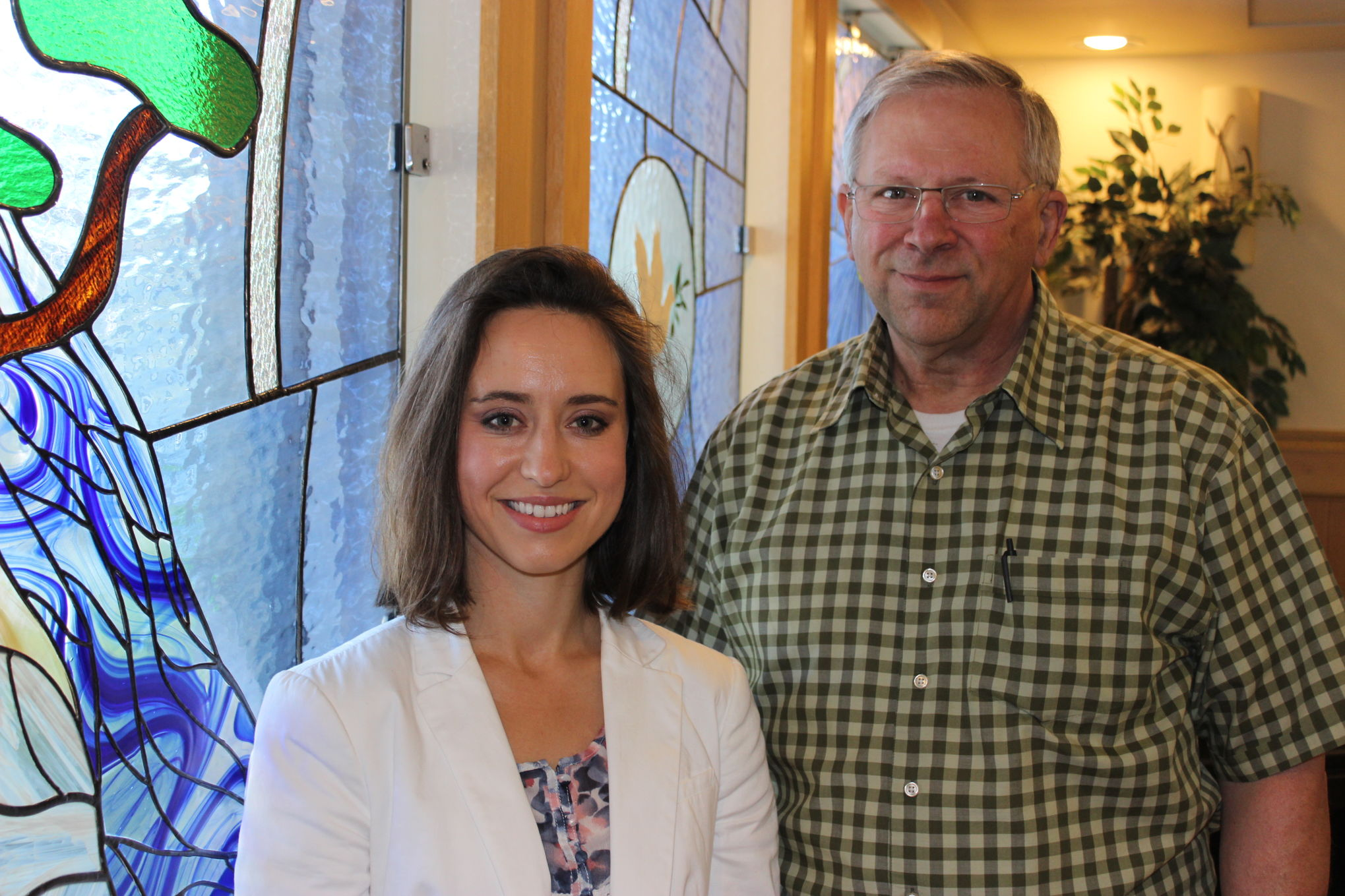 Lydia Summerville, incoming chaplain of Bethesda Place and Bethesda Regional Health Centre, and retiring chaplain Larry Hirst, are seen in the Bethesda Place chapel. The two will work alongside one another for the month of June.