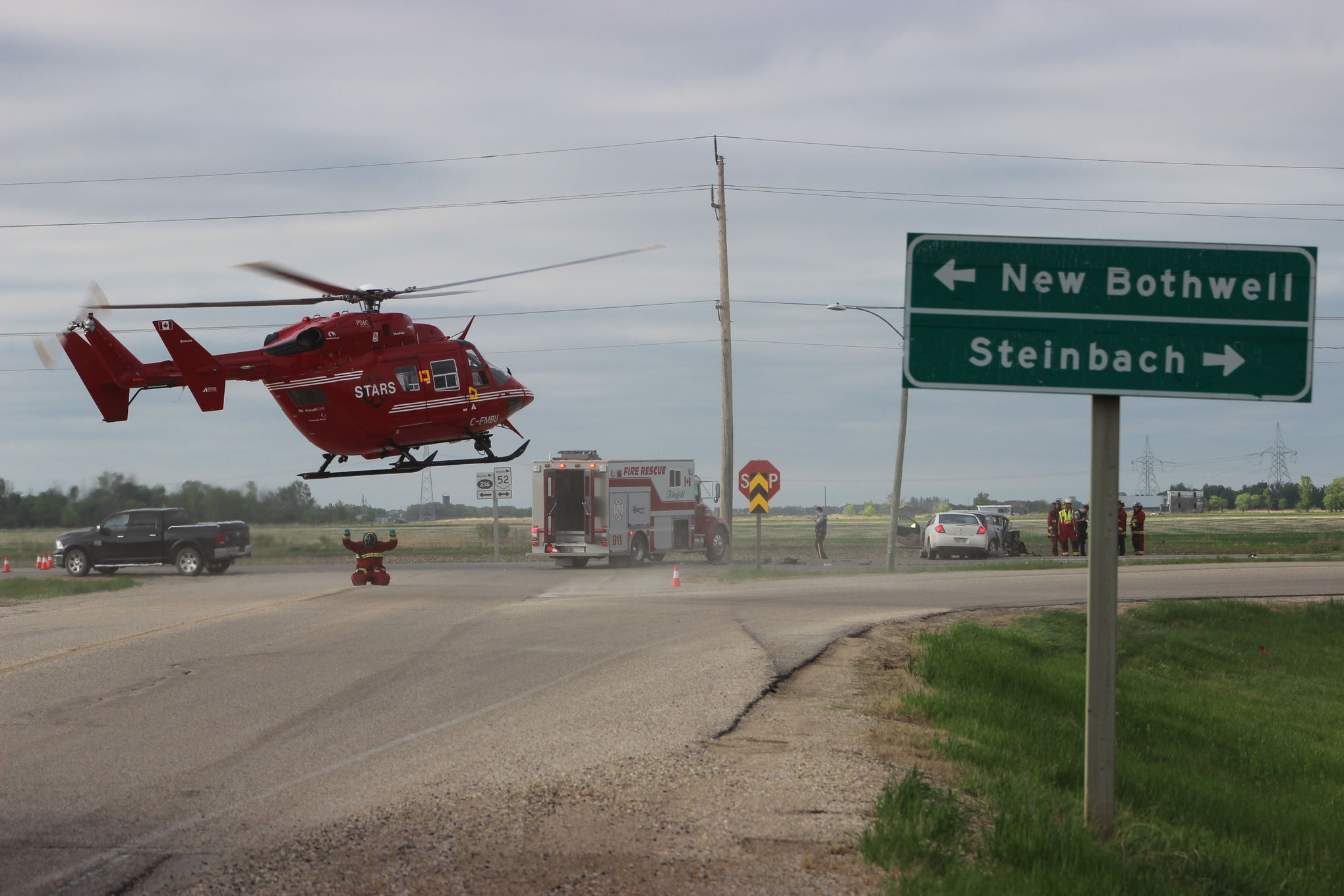 STARS leaves the scene of a two-vehicle crash near Kleefeld on May 31. A six-year-old boy, injured in the collision, died on Monday as a result of injuries sustained in the accident.