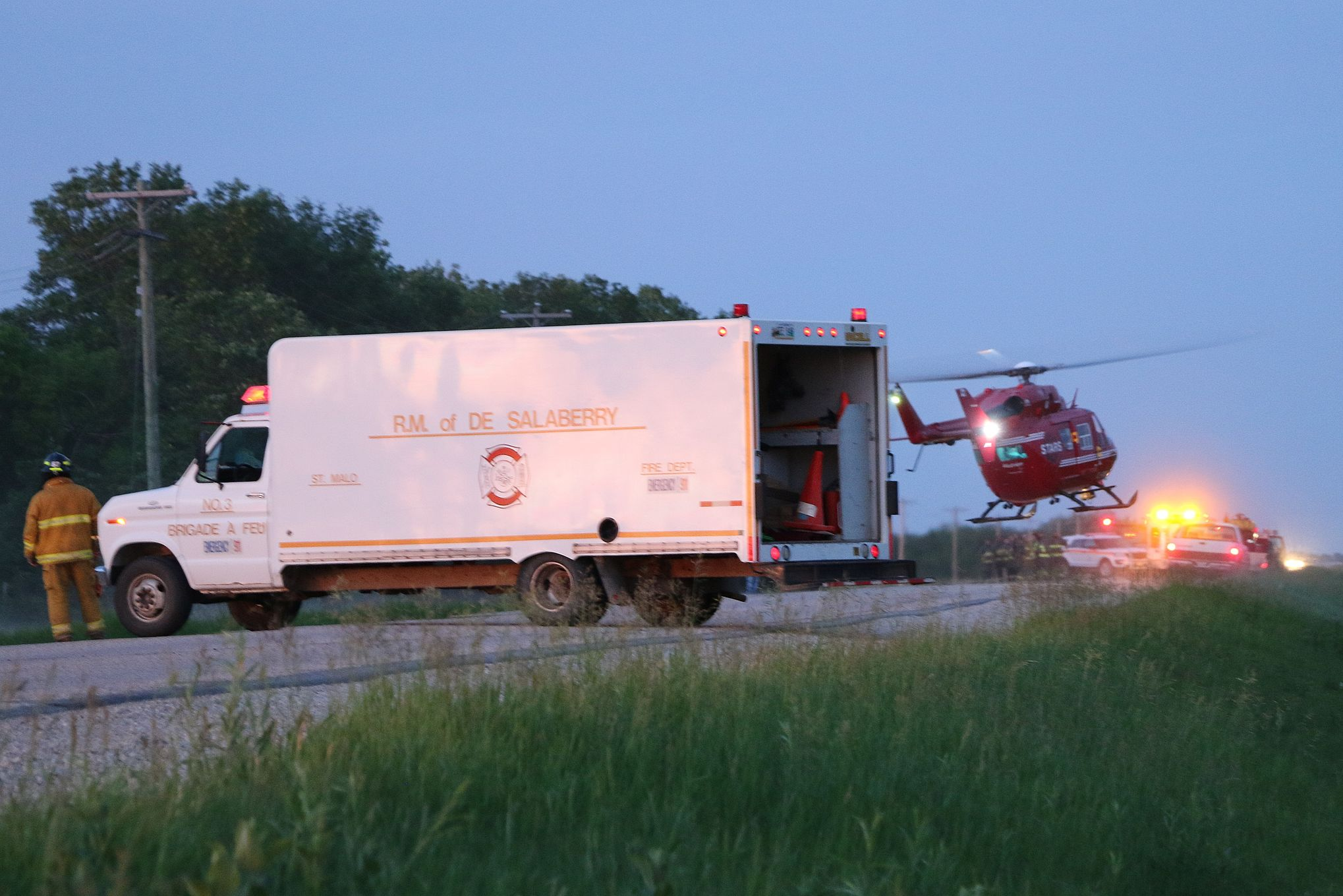 """STARS leaves the scene of a """"horse related injury"""" on Provincial Road 403 around 10 p.m. on Sunday night, transporting a patient in critical condition."""