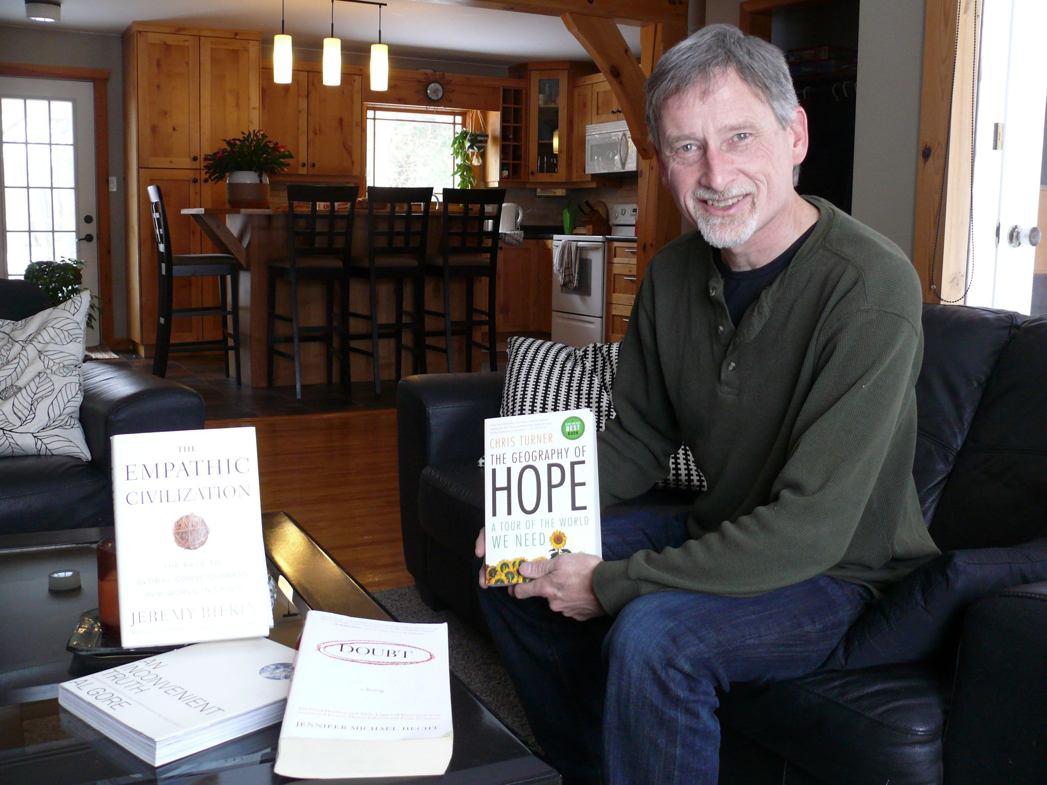 Eastman Humanist Community president Gary Snider displays a collection of influential books on humanism at his home in Steinbach. While EHC meetings are free to attend, Snider said some of the group's two dozen members participate discreetly to avoid negative consequences among family or colleagues.
