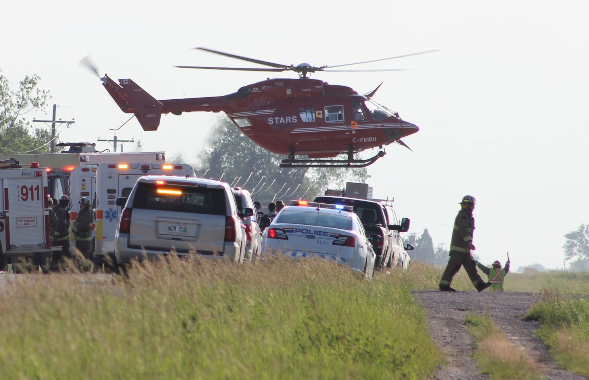 STARS departs from the scene of a collision on Wednesday night near Sarto. A spokesperson for the air ambulance service said a 17-year-old male, who had been driving a motorcycle, was transported to Winnipeg hospital in stable condition.