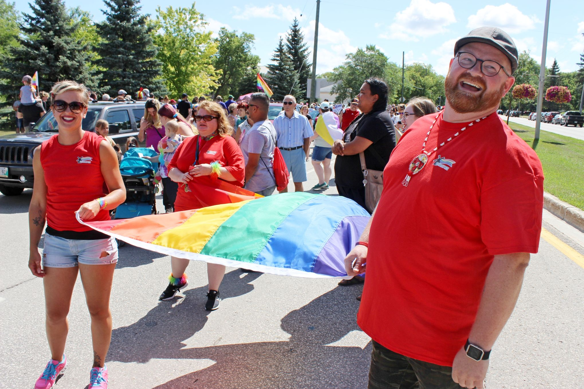 Steinbach Pride board president Chris Plett participates in last year's march for equality, which this year has made mental health a thematic focus.