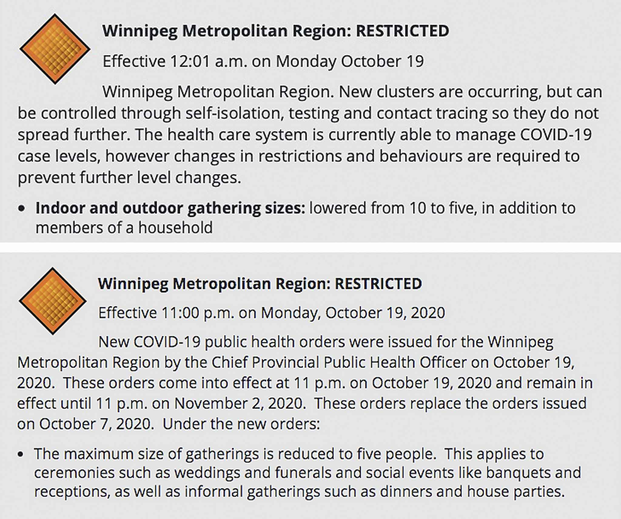 A screenshot of the Manitoba government's website on Friday, Oct. 17 (top) showing the restrictions take effect just after midnight Monday. On Tuesday, the same website showed the restrictions took effect Monday at 11 p.m. (bottom).