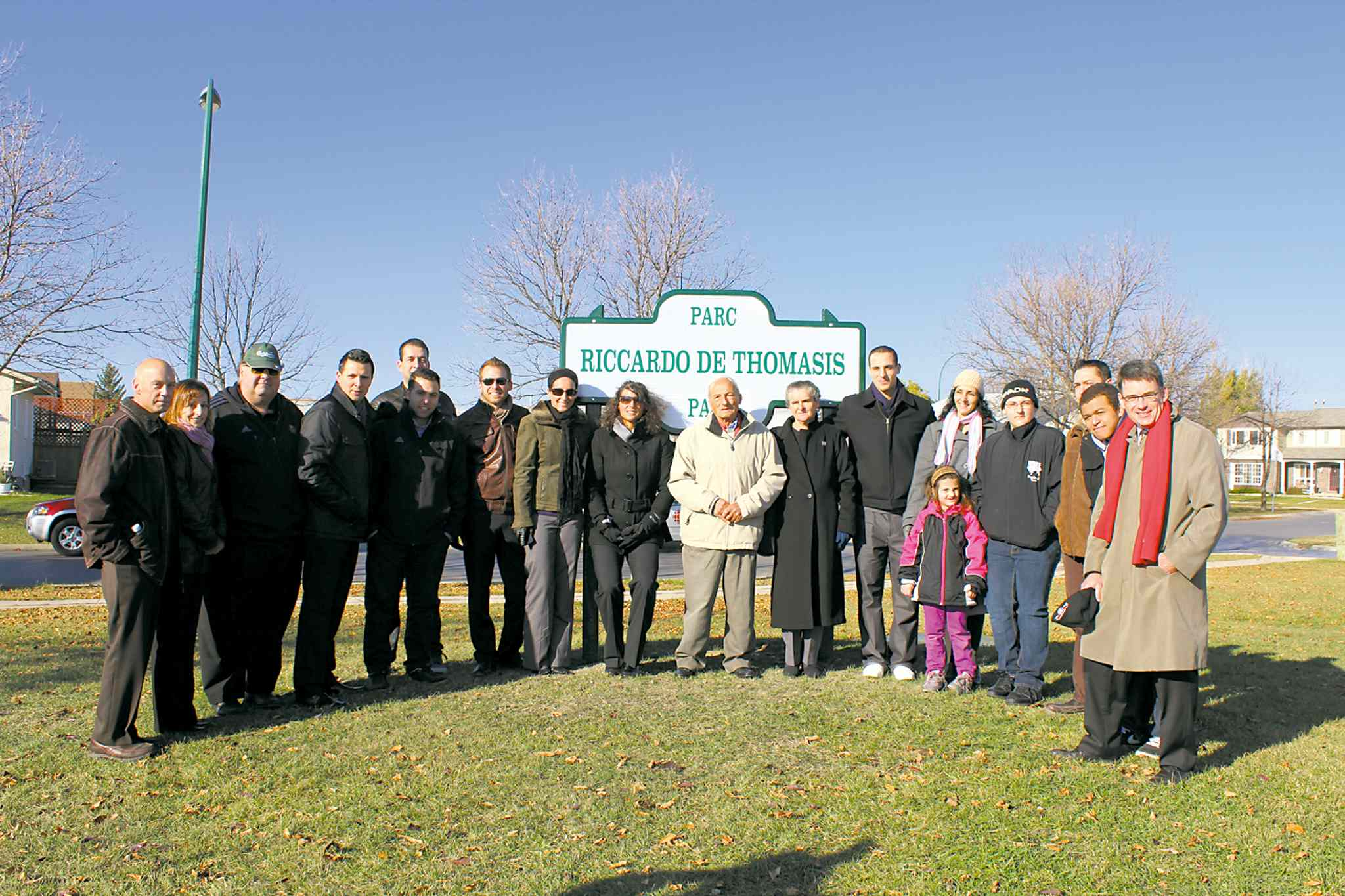 Family, friends and admirers of local soccer player, coach and mentor Riccardo De Thomasis gathered recently at an event to celebrate the renaming of Ashworth Park in his name.
