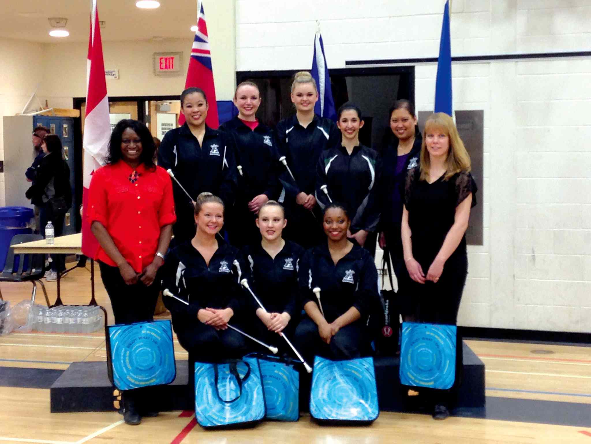 The contingent that will be heading to the Canadian Team Trial Championships to represent Manitoba in Saskatoon between May 16 and 19. Back row, left to right: Rhaychelle Tan, Jennifer Parisian, Sara Sabeski, Milana Schipper, and Jane Tan (coach). Front row, left to right: Leisha Strachan (coach), Jessica Pososki, Laura Tymchyshyn, Nikisah Hendrickson-Alexander, and Dana Petelski (coach).