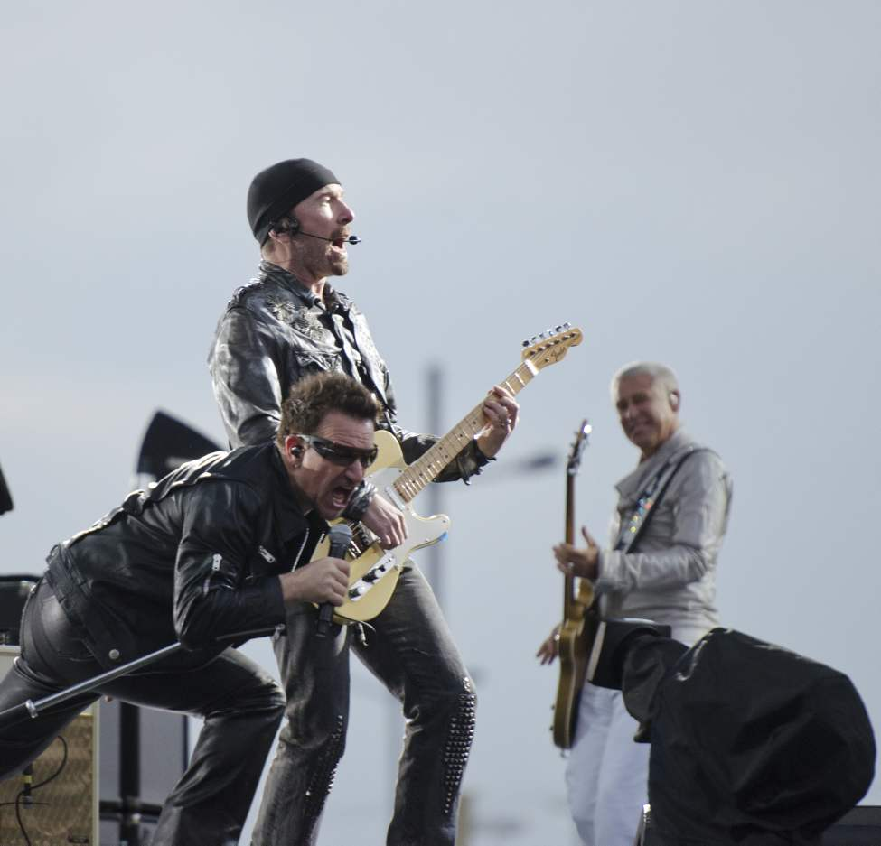U2 lead singer Bono, guitarist The Edge, and bassist Adam Clayton perform in concert at Canad Inns Stadium Sunday night. May 29, 2011