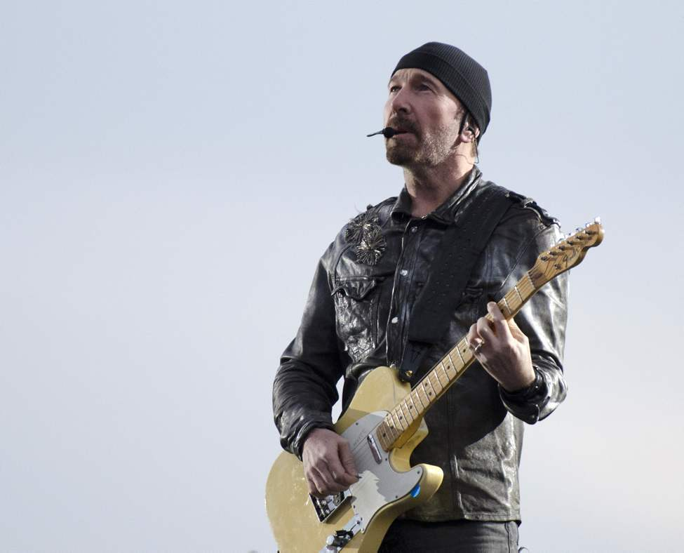 U2 guitarist The Edge performs with U2 in concert at Canad Inns Stadium Sunday night.