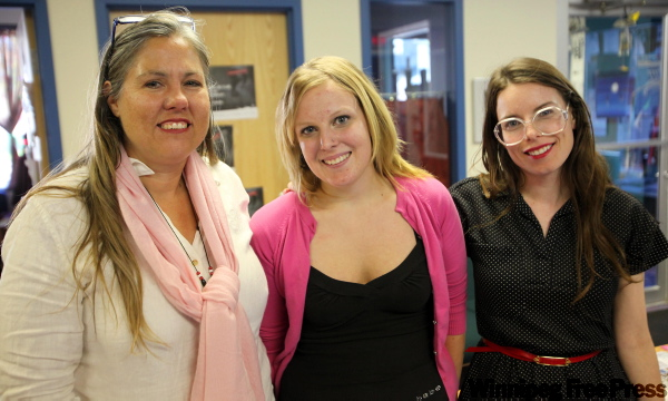 The Elizabeth Fry Society of Manitoba Executive Director Tracy Booth, volunteer Mandi Gray and community outreach worker Heather Bristow pose for a photo.