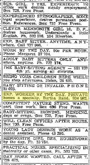 Rand placed paid advertisements in the newspapers promoting herself as a day labourer.  This ad appeared in the Winnipeg Free Press in 1950.