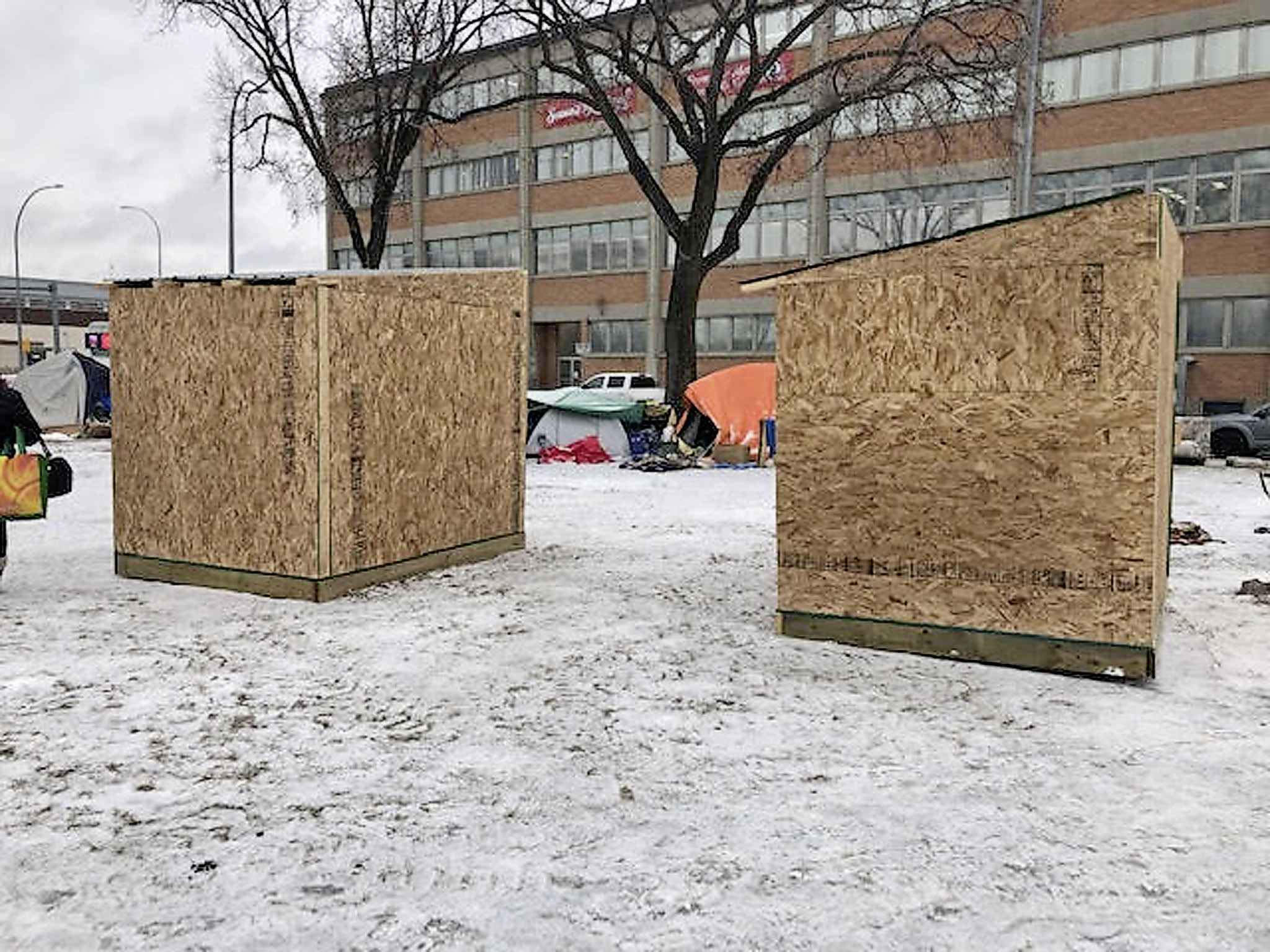 Earlier this year, Urban Knights and Ladies Veterans Ambassador Peace Patrol enlisted a carpentry class at a high school in Stonewall to build a pair of warming huts, to be placed in Winnipeg where they might be of good use to homeless people.  The two small wooden huts were placed near the Disraeli Freeway but quickly removed by WPS over concerns for liability and the safety of people who might use them. (Supplied)
