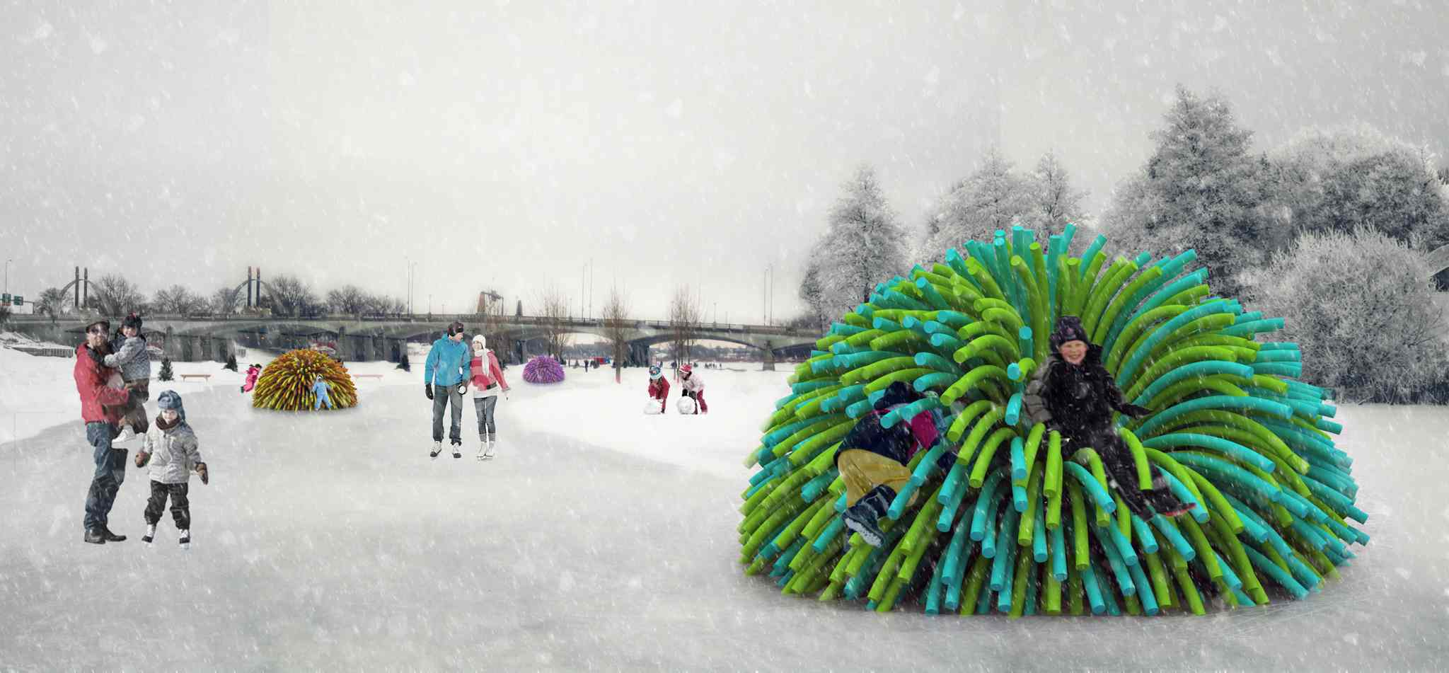 In this artist's design rendering, kids try out a warming hut made of pool noodles.