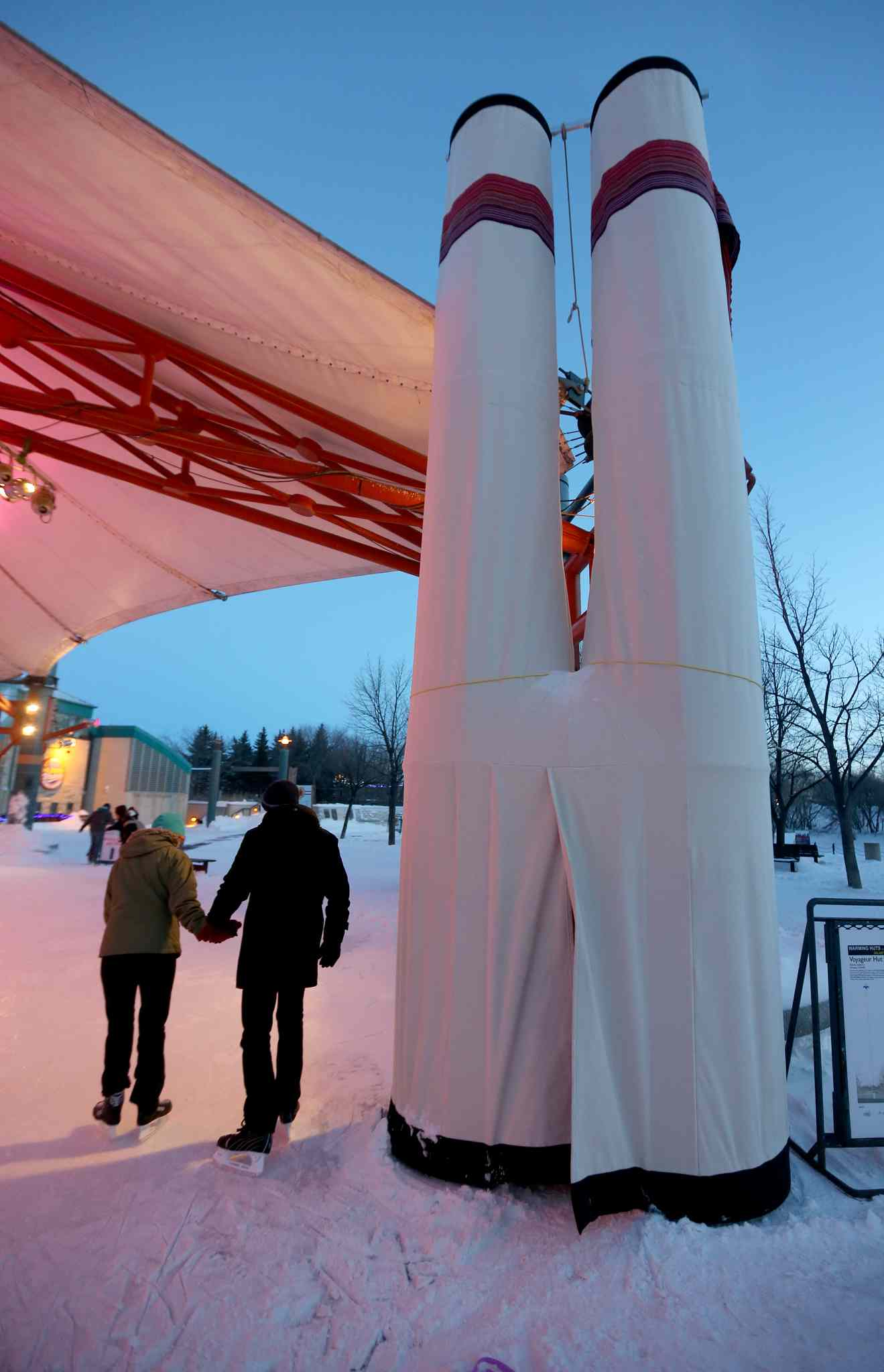The Voyageur Hut, designed by Etienne Gabourie, sits on display for visitors at The Forks on Friday.