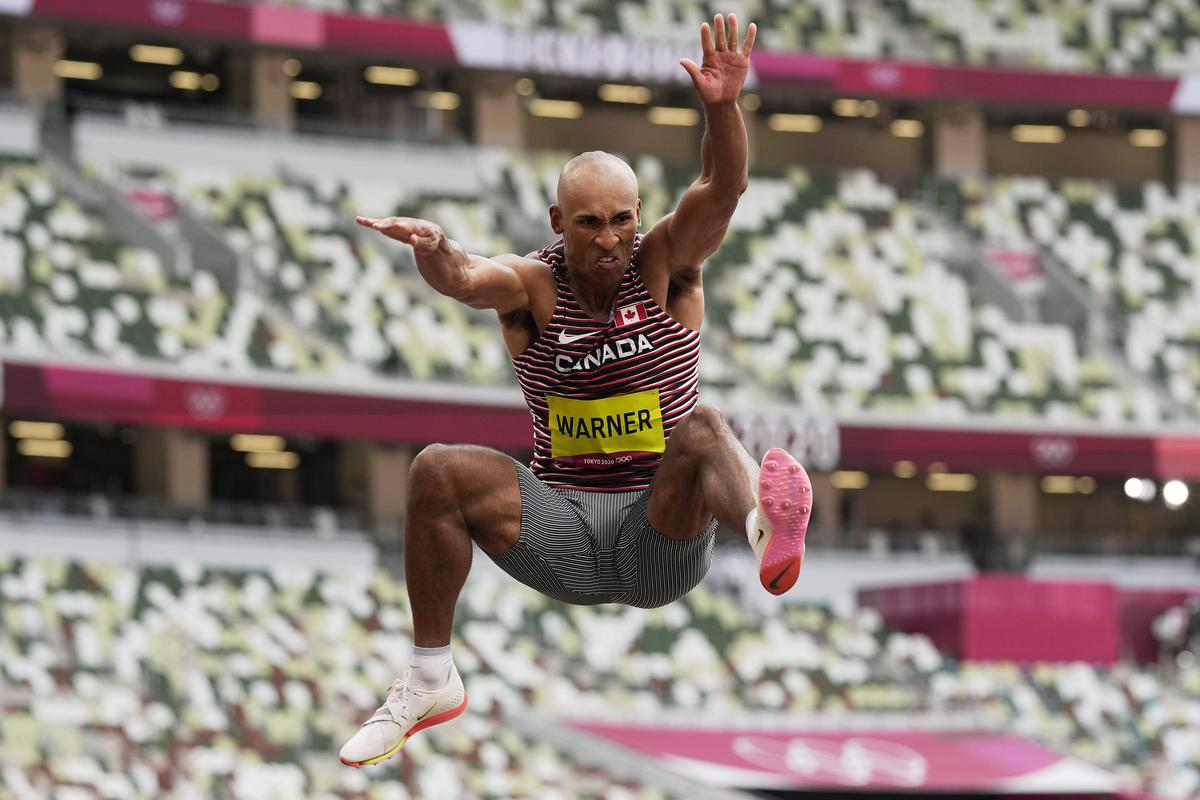 Damian Warner led all decathletes with a long jump of 8.24 metres Wednesday, a distance that would have earned bronze in the men's long-jump competition earlier in the week.