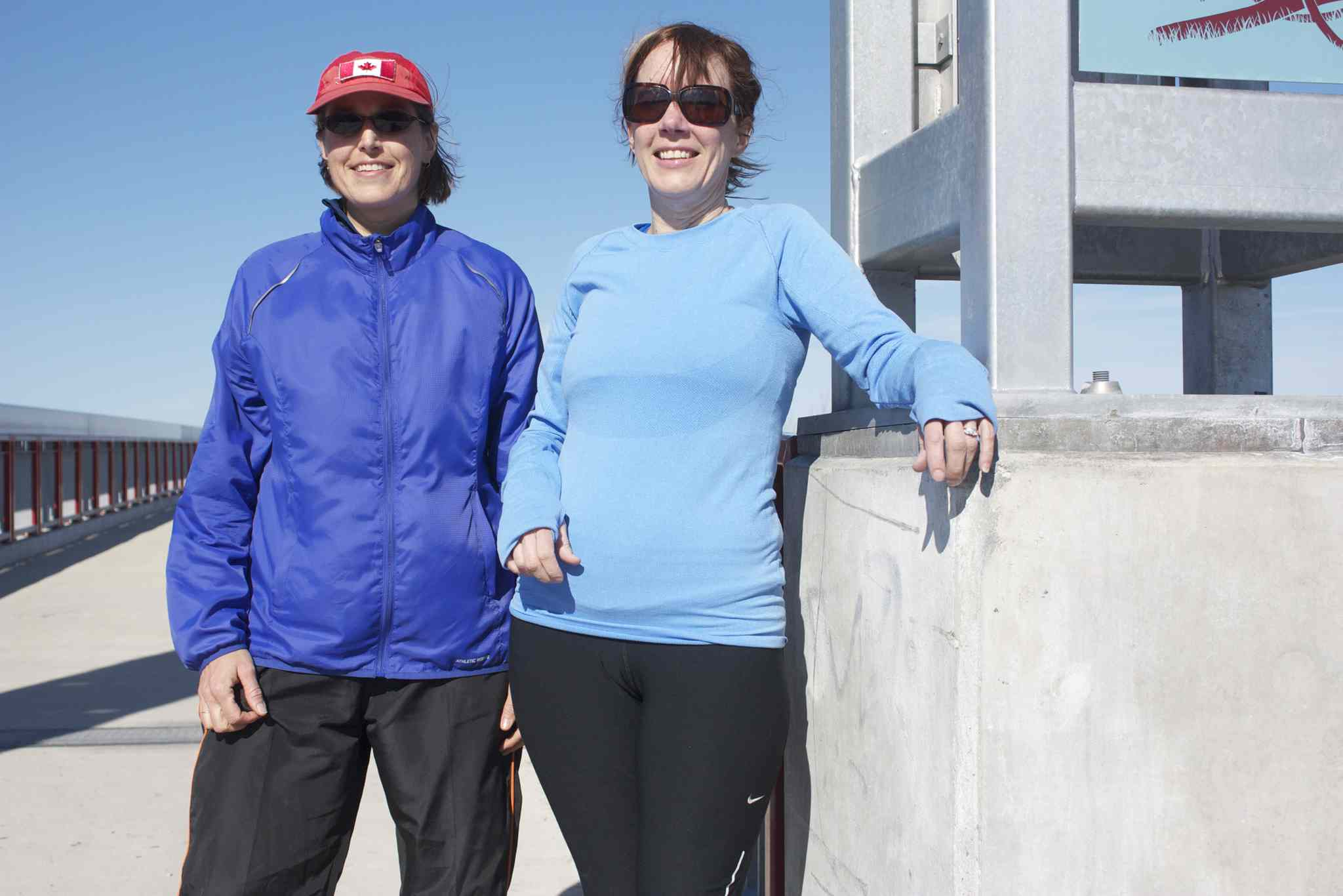 Peguis Pioneer Pacers founder Maureen Peniuk and runner Jane McCarville are shown at the group's meeting point on the Northeast Pioneers Greenway near the intersection of the Chief Peguis Trail and Gateway Road.