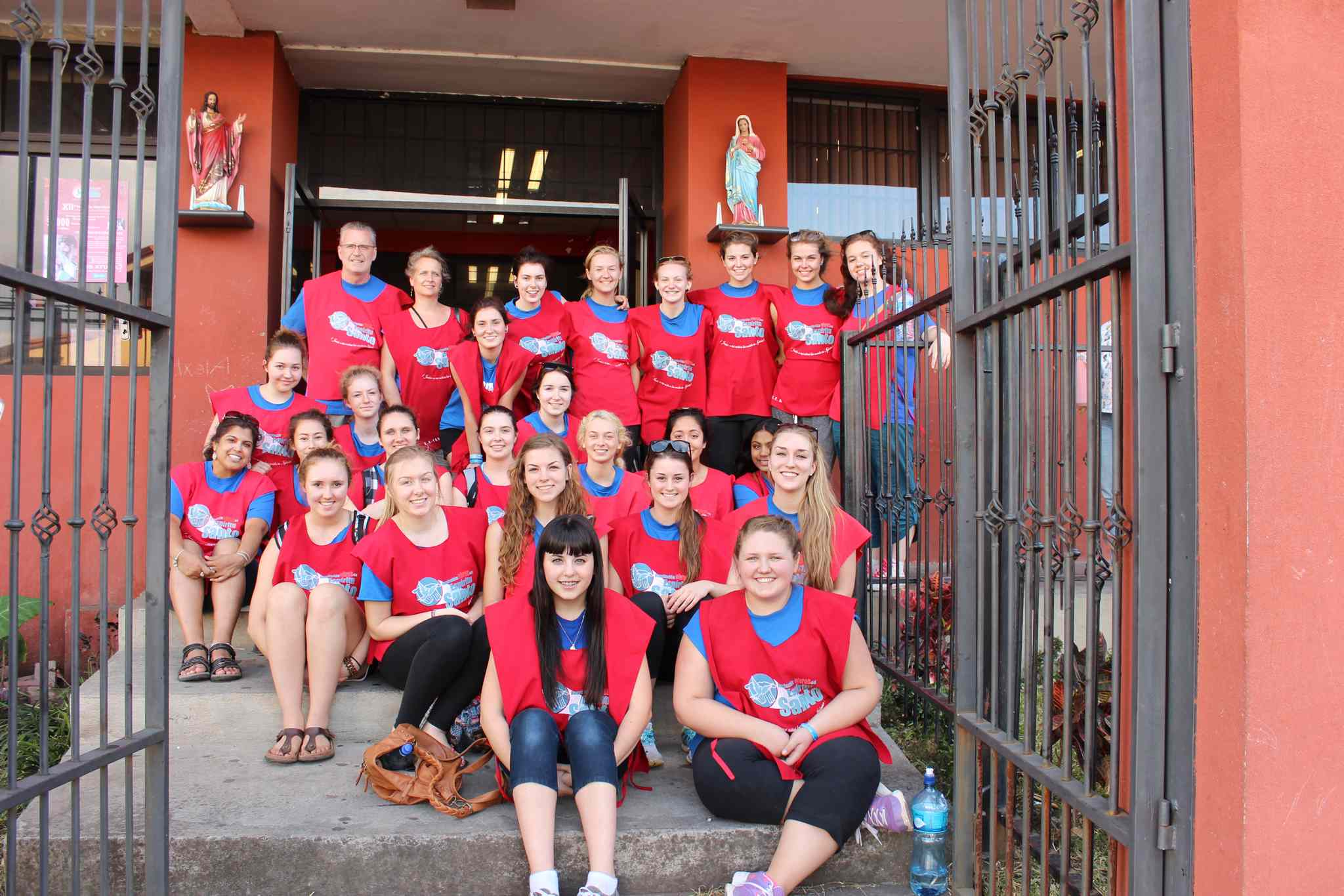 River East Collegiate students and staff are shown at the Asociacion Obras del Espiritu Santo orphanage near San Jose, Costa Rica. The group was in the Central American country as part of a nine-day service tour.