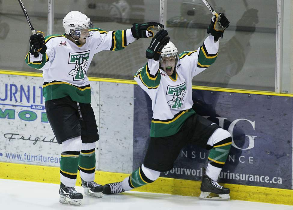 Portage Terriers' Brendan Harms (18) celebrates his goal against the Winnipeg Saints in game one of the MJHL Turnbull Cup in Portage La  Prairie Sunday, April 1, 2012.  (John Woods / Winnipeg Free Press)