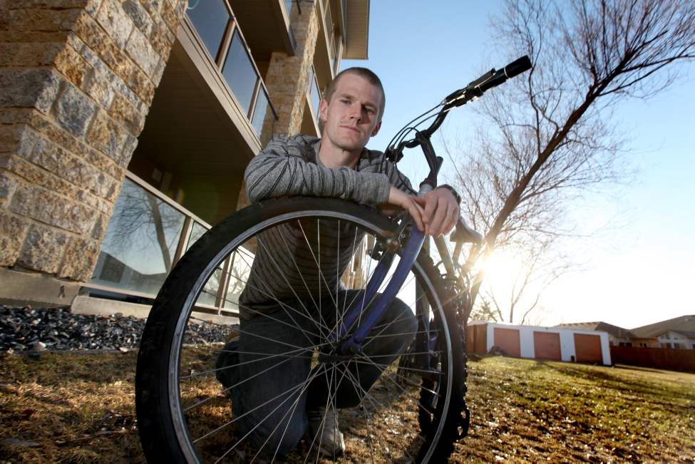 Corey Gallagher had two of his bikes stolen off his first floor balcony at his condo in St. Vital.  He was able to chase down one of his bikes but not his more expensive bike.  March 31, 2012  (Ruth Bonneville/Winnipeg Free Press)