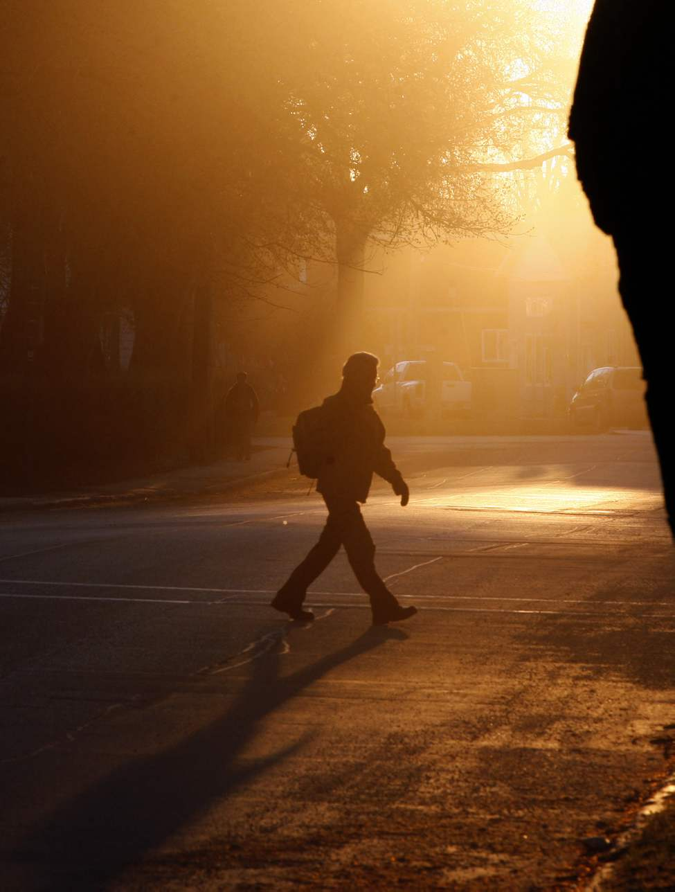 Sunrise in St. Boniface as Winnipeggers make their way to work. April 4, 2012. 