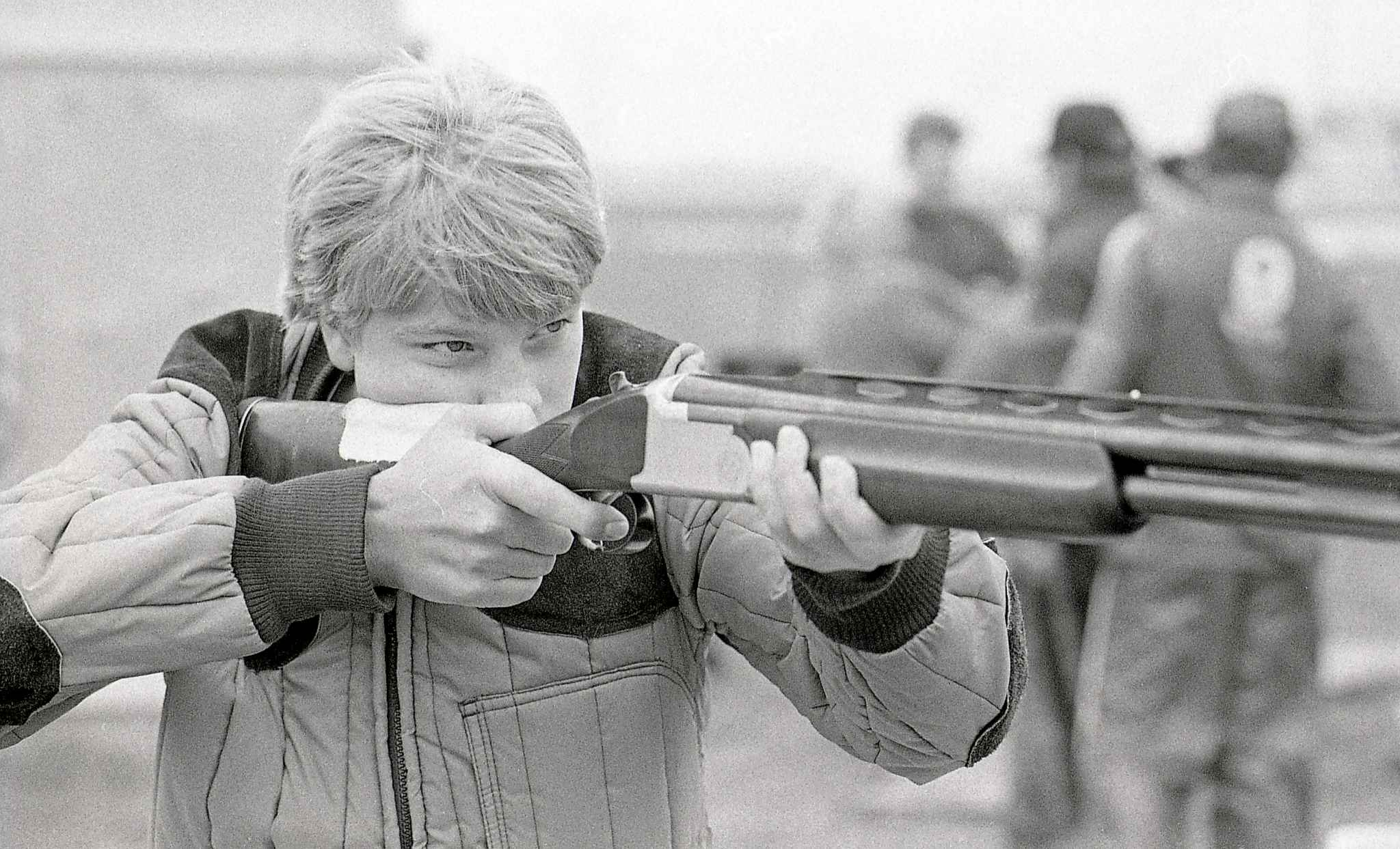 A 14-year-old Curtis Wennberg takes aim during the Manitoba International Provincial Trap Shooting championships in 1985.