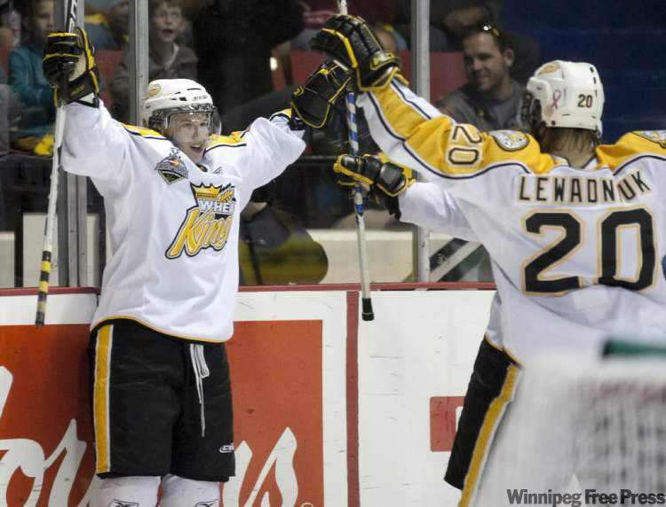 Brandon's Toni Rajala (left) celebrates his second goal of the game with teammate Aaron Lewadniuk Sunday afternoon at Westman Place.