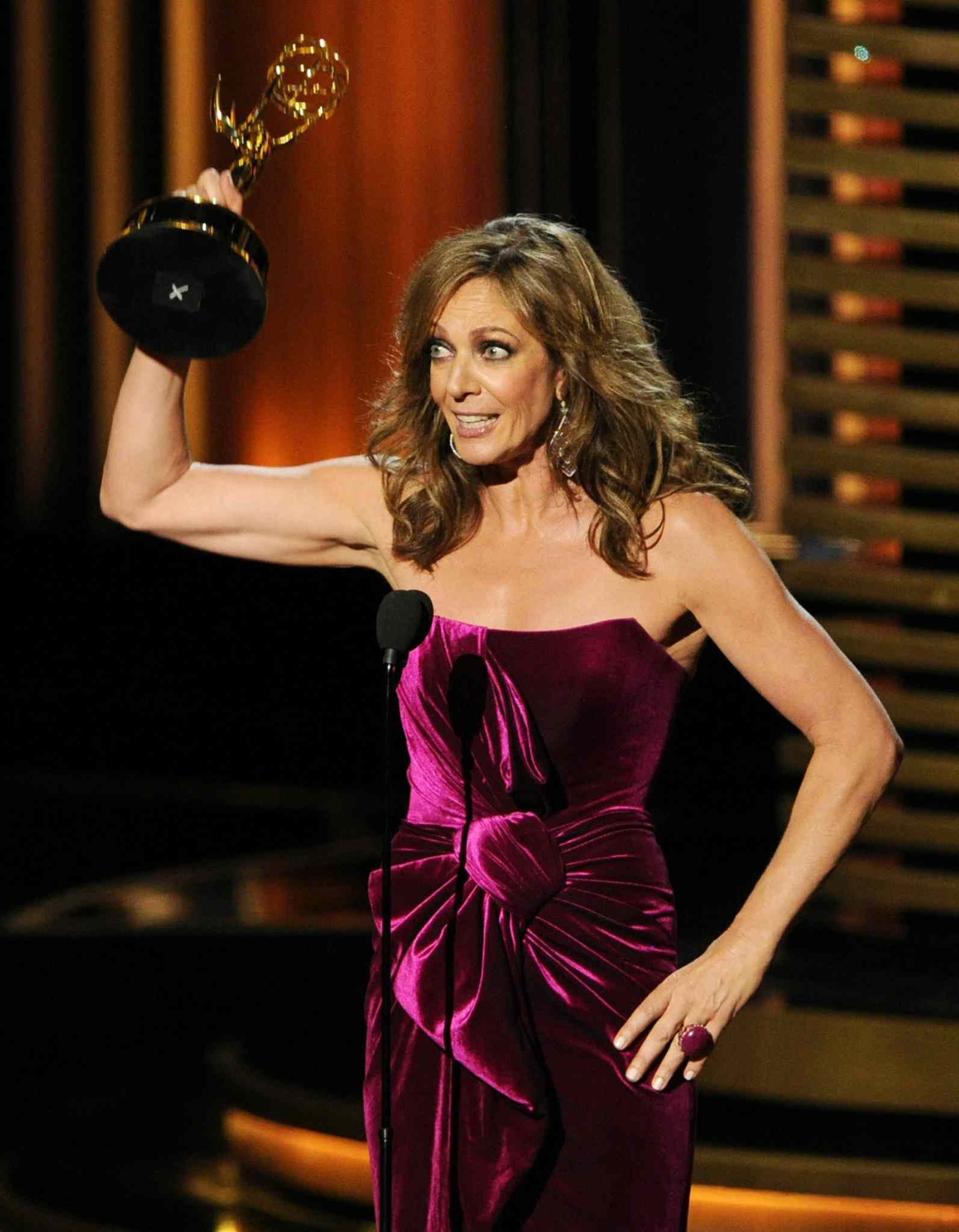 Allison Janney accepts the award for outstanding supporting actress in a comedy series for her role in Mom at the 66th Annual Primetime Emmy Awards at the Nokia Theatre L.A. Live Monday.