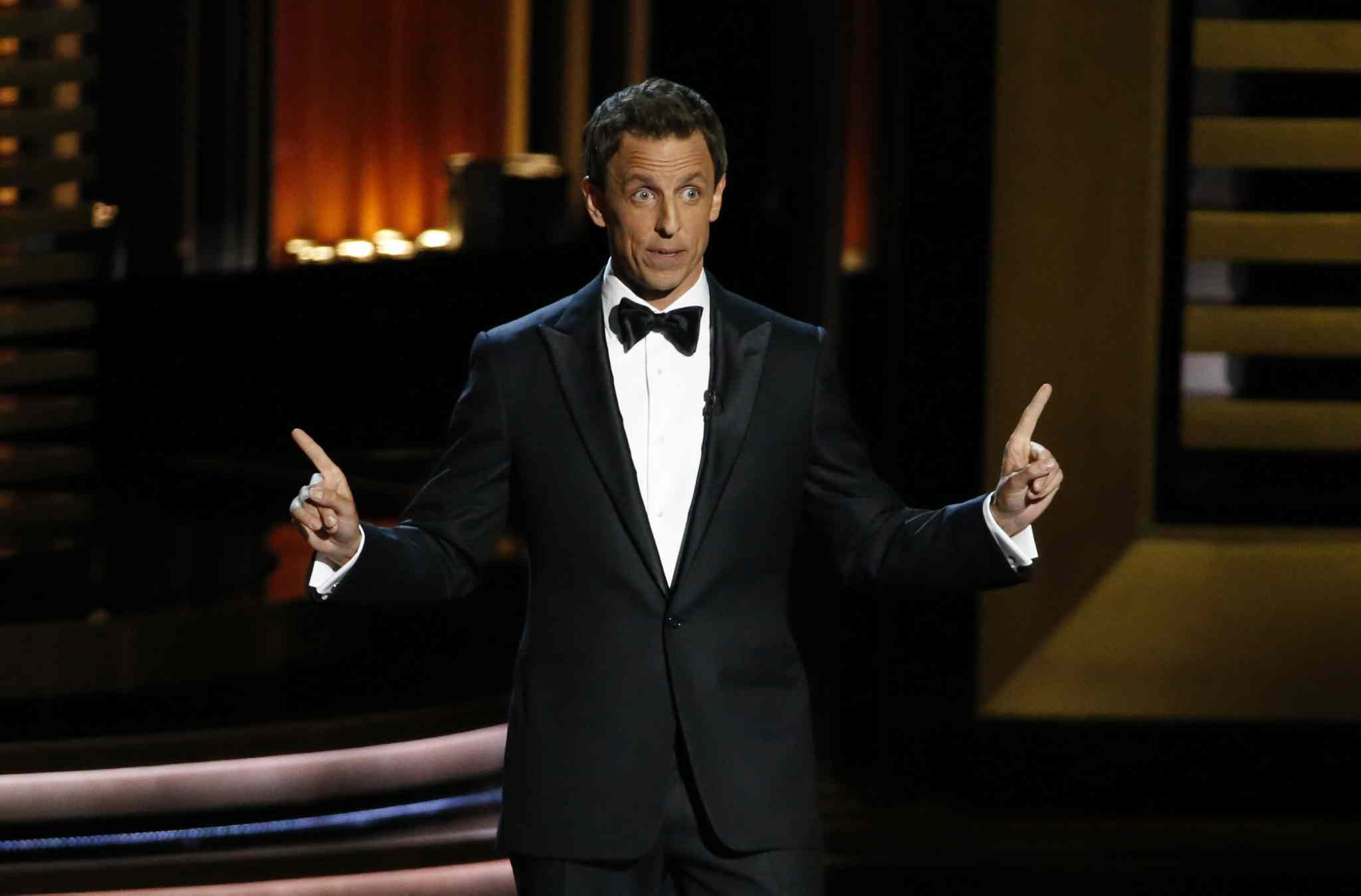 Seth Meyers hosts the 66th Annual Primetime Emmy Awards at Nokia Theatre at L.A. Live in Los Angeles on Monday.