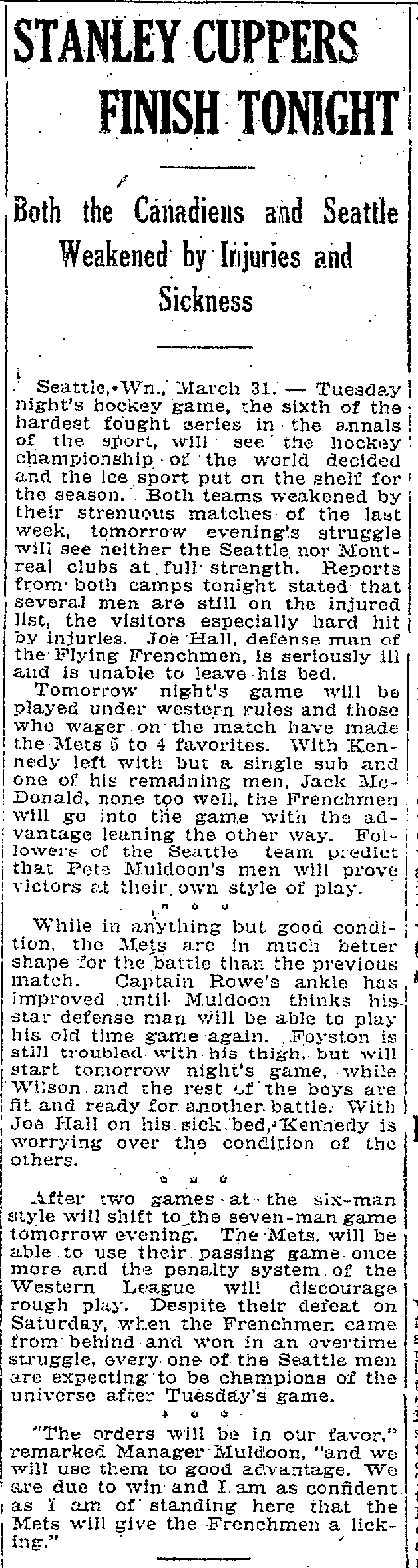 An article published in the Manitoba Free Press on April 1, 1919.