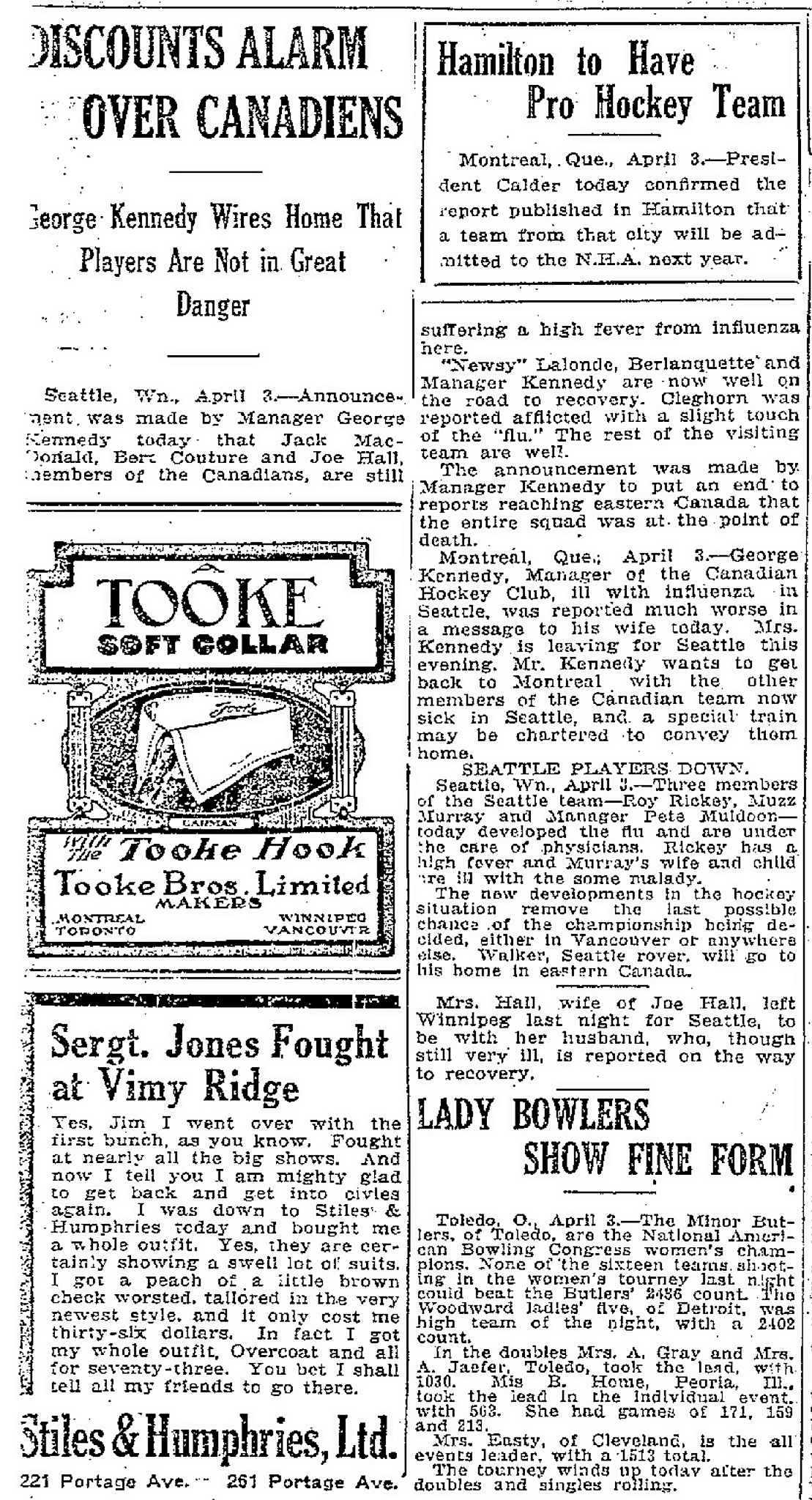 An article published in the Manitoba Free Press on April 4, 1919.