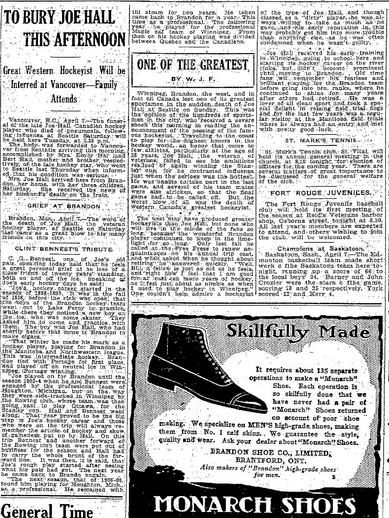 An article published in the Manitoba Free Press on April 8, 1919.