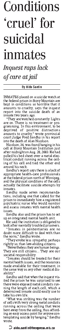 Coverage of the inquest in the Winnipeg Free Press on Aug. 26, 2005.