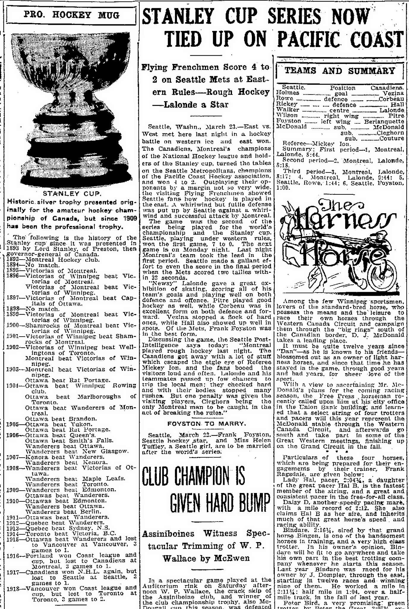 An article published in the Manitoba Free Press on March 24, 1919