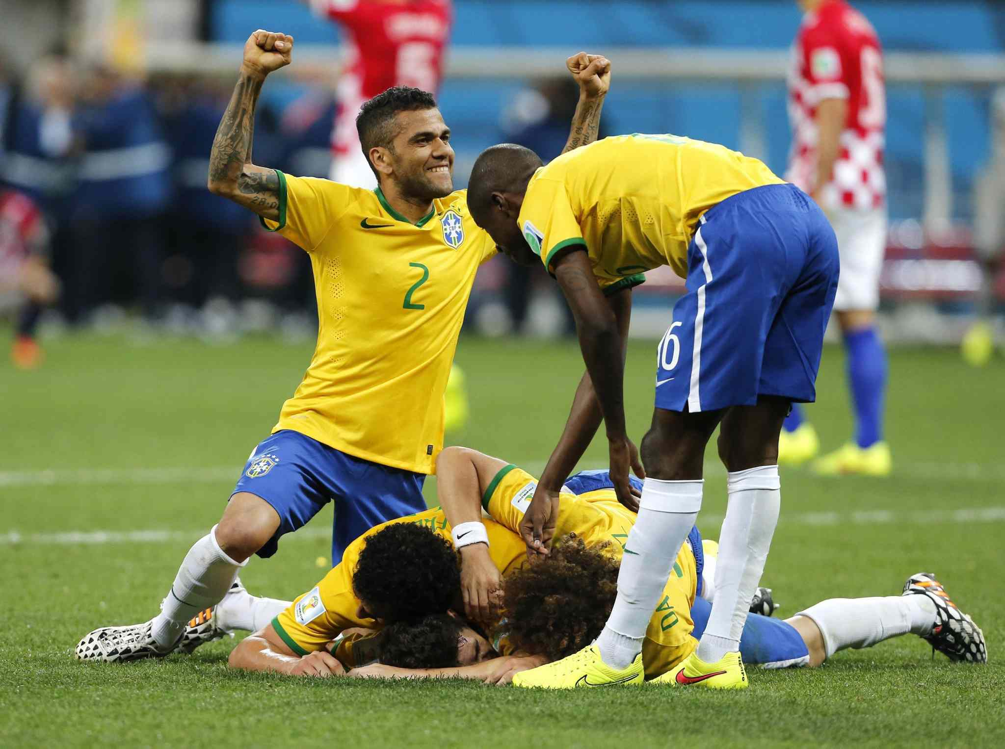 Brazil celebrates a goal during the opening match of the FIFA World Cup against Croatia.