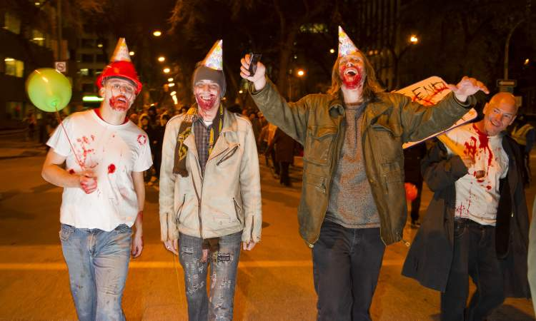 Zombie participants during the annual Winnipeg Zombie Walk from The Forks to The Manitoba Legislative Building Saturday night. 