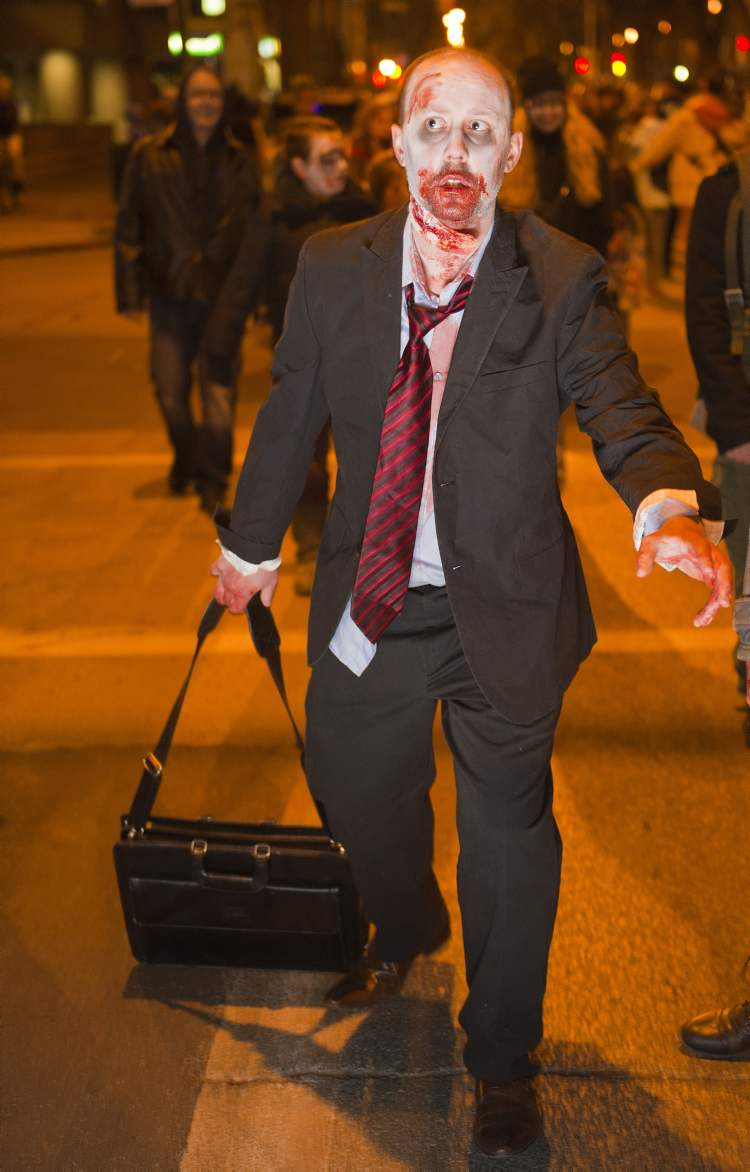 Zombie Matthew Klassen during the annual Winnipeg Zombie Walk from The Forks to The Manitoba Legislative Building Saturday night. 