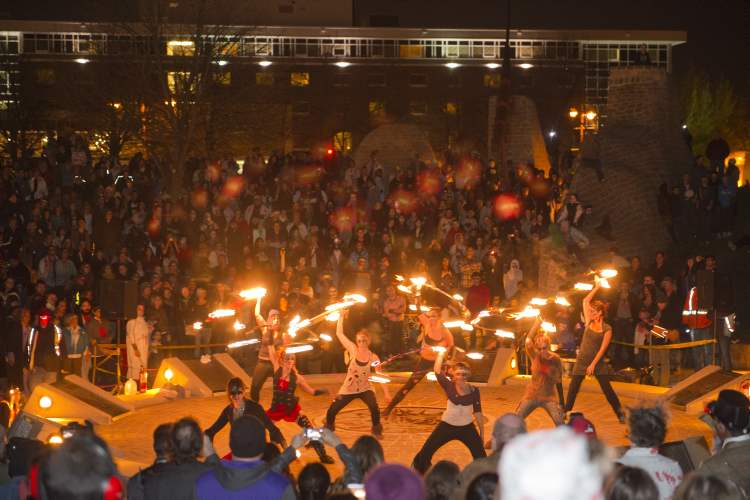 Fire performers at the Forks for the annual Winnipeg Zombie Walk from The Forks to The Manitoba Legislative Building Saturday night. 