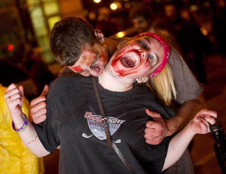 Zombie Participants in the annual Winnipeg Zombie Walk from The Forks to The Manitoba Legislative Building Saturday night.  DAVID LIPNOWSKI / WINNIPEG FREE PRESS